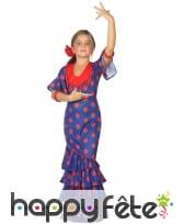 Robe flamenco bleu et rouge pour enfant