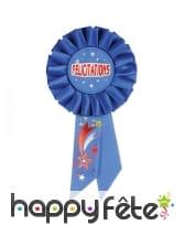 Rosette félicitations, bleue