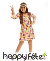 Robe fleurie de petite hippie avec bandeau