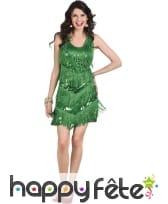 Robe flappers verte avec franges