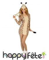 Robe girafe courte à capuche