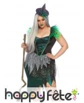 Robe grande taille de sorcière vert et noir, luxe