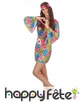 Robe hippie courte imprimé fleurs manches évasées, image 1
