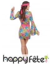 Robe hippie courte imprimé fleurs manches évasées, image 2