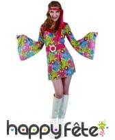Robe hippie courte imprimé fleurs manches évasées, image 3