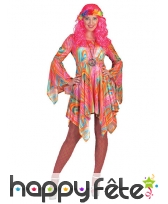 Robe hippie marbrée multicolore