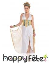 Robe longue blanche de déesse avec corset doré