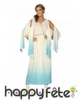 Robe longue de déesse grecque bleu dégradé blanc