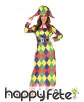 Robe longue de femme arlequin multicolore