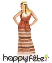 Robe longue hippie avec haut marron et franges, image 1