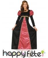 Robe longue médiévale rouge et noire pour femme