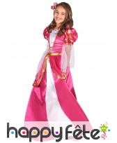 Robe longue rose de princesse médiévale, enfant, image 1