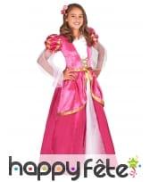 Robe longue rose de princesse médiévale, enfant