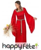 Robe longue rouge style médiéval pour adulte, image 1