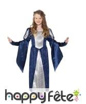 Robe médiévale bleue avec arabesques pour enfant