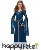 Robe médiévale bleue effet velours pour enfant, image 1