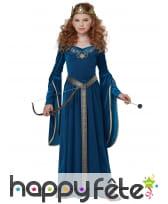 Robe médiévale bleue effet velours pour enfant, image 2