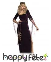 Robe médiévale en velours violet et doré, femme