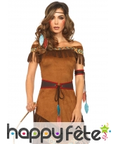 Robe marron imitation daim de femme indienne, image 1