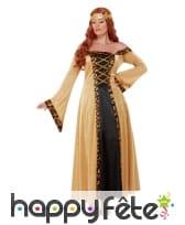 Robe médiévale pour femme, noire et dorée, image 1