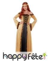 Robe médiévale pour femme, noire et dorée