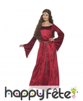 Robe médiévale rouge grande taille
