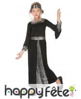 Robe noire argent de princesse médiévale