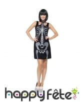 Robe noire courte imprimé squelette