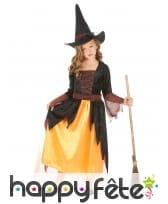 Robe noire et jaune de petite sorcière
