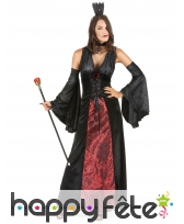 Robe noire et rouge de vampire effet velours