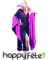 Robe noire et violette à grand col manches évasées, image 3