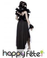 Robe noire queue de pie dos nu avec plumes, image 1