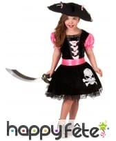Robe noire rose de petite piratesse tête de mort