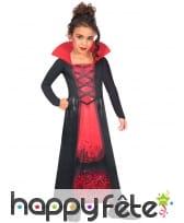 Robe noire rouge de vampire fille, tissu recyclé