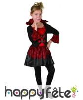 Robe noire rouge de vampiresse pour enfant, image 3
