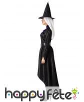 Robe noire satinée de sorcière et chapeau, adulte, image 1