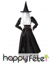 Robe noire satinée de sorcière et chapeau, adulte, image 2