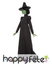 Robe noire unie de sorcière avec chapeau, femme, image 1
