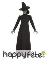 Robe noire unie de sorcière avec chapeau, femme