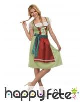 Robe oktoberfest verte pour femme avec tablier