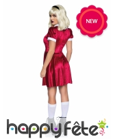Robe rouge col claudine blanc pour femme, image 1