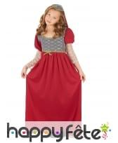 Robe rouge de princesse médiévale pour enfant