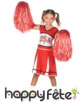 Robe rouge et blanche de pompom girl US pour fille, image 1
