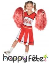 Robe rouge et blanche de pompom girl US pour fille