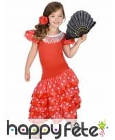 Robe Rouge Pois Blanc de petite danseuse Flamenco