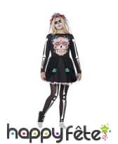 Robe Skull jour des morts pour adolescente