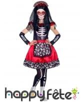 Robe squelette Jour des morts rouge et noir, fille, image 1