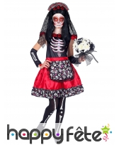 Robe squelette Jour des morts rouge et noir, fille