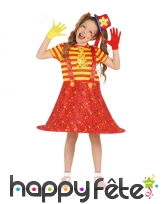 Robe salopette large de clown rouge jaune, enfant