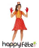 Robe salopette large de clown rouge pour femme